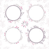 Set of 4 floral brown vector frames Royalty Free Stock Photo