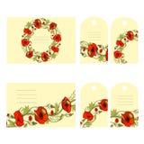 Set of 6 floral business cards and labels vector illustration