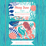 Set of floral business cards in retro style in flat colors Stock Images