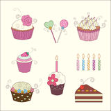 Set of floral cake and candy stock illustration