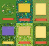 Set of floral cards with banners for texts royalty free stock images