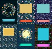 Set of floral cards with banners for texts stock photography