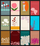 Set of 12 floral cards Stock Images