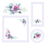 Set of floral cards. EPS10. Contains transparency and gradients Royalty Free Stock Photos