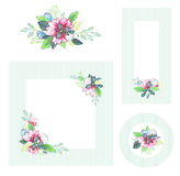 Set of floral cards. EPS10. Contains transparency and gradients Royalty Free Stock Images