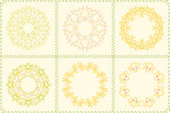 Set of floral circle frames for flyers, brochures. Templates design. Vintage cards with flower patterns and ornaments. Decorations, leaves, berry. Spring or Royalty Free Stock Photo