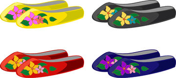 Set of floral clogs Stock Images