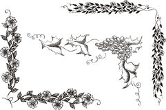 Set of floral decorative corners. Black and white vector illustration Stock Image
