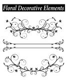 Set Floral decorative element with swirls Stock Images