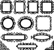 Set of floral decorative frames and corners. Page decor elements Stock Photography