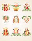 Set of floral design elements. Set of vector floral design elements Royalty Free Stock Photo