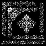 Set of floral design elements. On the black background Royalty Free Stock Image