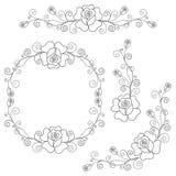 Set of floral design elements Royalty Free Stock Images
