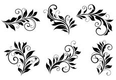 Set of floral design elements. In retro style isolated on white background Stock Images