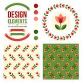 Set of floral design elements Stock Photo