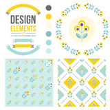 Set of floral design elements Royalty Free Stock Photos
