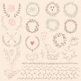 Set of Floral Design Elements. Wedding  set with arrows, hearts, laurel, wreaths, ribbons and labels. Royalty Free Stock Photo