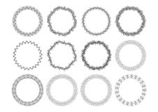 Set of floral design elements on the white background. Set of round floral design elements on the white background Stock Photo