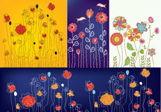 Set of floral designs Royalty Free Stock Photography