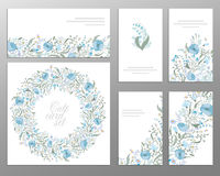 Set of  floral designs: business cards, seamless pattern, beautiful illustration frame. Cute hand drawing flowers Royalty Free Stock Image