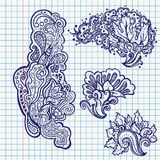 Set of floral doodles Stock Images