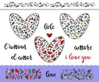 Set of floral doodling hearts with editable stroke on the transparent background. Borders and word love