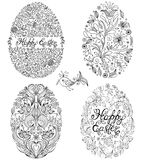 Set of floral easter eggs Stock Images