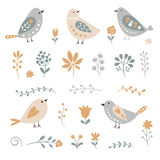 Set of floral elements and birds Royalty Free Stock Photos