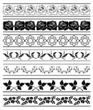 Set of floral elements of borders - vector Royalty Free Stock Image