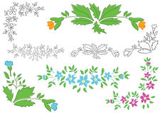 Set - floral elements for design - vector Stock Image