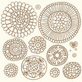 Set of floral elements in the ethnic style of hand-drawn Royalty Free Stock Images