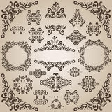 Set of floral elements and frames Royalty Free Stock Photo