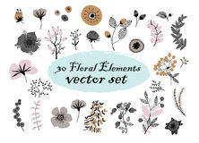 Set of floral elements.illustration made of flowers and herbs. Vector decorative leaf Royalty Free Stock Image