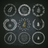Set of floral elements: leaves, flowers, branches and wreathes. Royalty Free Stock Photography