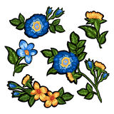 Set of floral embroidery. Set of isolated elements of floral embroidery royalty free illustration
