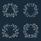 Set of Floral Frame. Cute retro floral arranged un a shape of the wreath Royalty Free Stock Photos