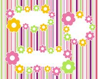 Set of floral frames. Floral frames on a striped color background Royalty Free Stock Image