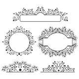 Set of floral frames. Vector monochrome set of floral frames Royalty Free Stock Images