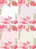 Set of 4 floral frames. Digital illustration of white, bluish, pink and greenish floral frames with tender peonies with light texture of a paper. Add text & royalty free illustration