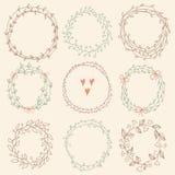 Set of Floral Frames Stock Images