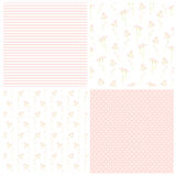 Set of floral and geometric backgrounds. Seamless vector patterns. Meadow flowers, strips and polka dots. Good for wedding or baby design Stock Images