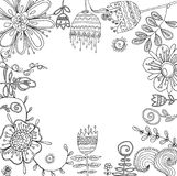 Set of floral graphic design elements for coloring book Stock Image