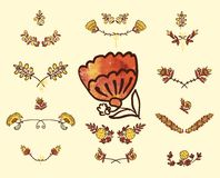 Set of floral graphic design elements Royalty Free Stock Photo