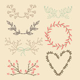 Set of  floral graphic elements, laurels Royalty Free Stock Photo