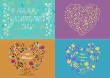 Set of floral greeting cards with romantic texts. Happy Valentine day. Love Yoy. Hearts Patterns. 14 february. Vintage Style Stock Images