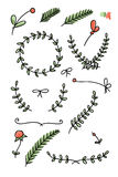Set of floral hand drawn doodles Royalty Free Stock Image