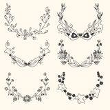 Set of floral hand drawn wreaths Stock Photography