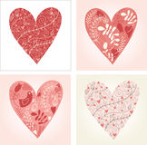 Set of floral hearts. Valentine card Royalty Free Stock Photos
