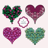 Set Of Floral Hearts Stock Photos