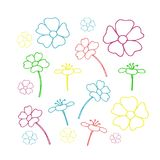 Set of floral icon in flat design. vector illustration. On white royalty free illustration